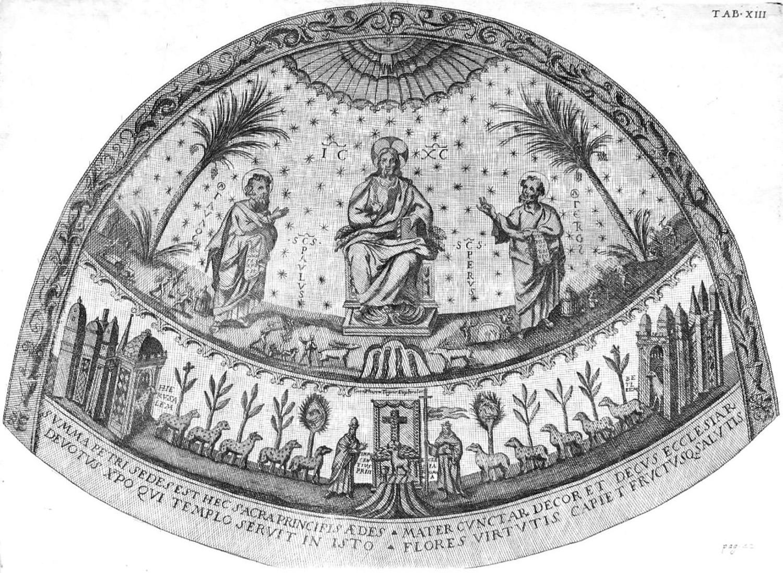 Мозаика в апсиде старой базилике. Реконструкция 1693 года Джованни Чампини,  выполненная на основе старых рисунков.