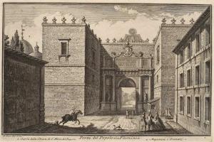 Вид на ворота Порта дель Пополо со стороны Фламиниевой дороги