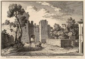 Ворота Порта Сан Лоренцо на Эсквилине. Виа Пренестина, идущая до Ананьи и присоединяющаяся к виа Латина.