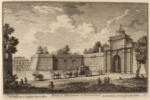Ворота Порта Сан Панкрацио на Яникуле. Дорога Виа Вителлиа, идущая к морю. Дорога Виа Аврелиа, идущая до Галлии.