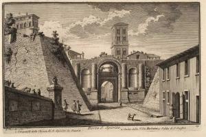 Ворота Порта Санто Спирито. Кампанилла церкви Санто Спирито ин Сассиа (1), Часть здания виллы Барберини (2), Подъем Сант Онофрио (3)