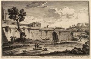 Ворота Порта Фабрика. Ватиканская базилика (1), Малый купол Ватиканской базилики (2), кавалерийские казармы (3), Холм Сан Онофрио (4)