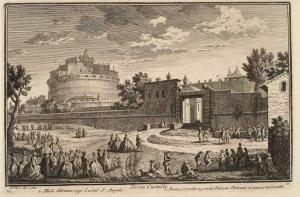 Ворота Порта Кастелло. Мавзолей Адриана, сейчас Замок Святого Ангела (1), Мост и корридор, ведущий из Ватиканского дворца в Замок (2)
