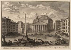 Пьяцца делла Ротонда. Пантеон Агриппы (церковь Санта Мария Делла Ротонда) (1), Фонтан гранитного египетского обелиска (2), Палаццо Крешенци (3)