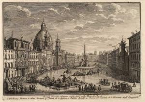 Пьяцца Навона, обычно затопленная во время Августовских Фестивалей. Обелиск и Фонтан (1), другой фонтан (2), Церковь Святой Агнессы и Палаццо Памфили (3), Церковь и госпиталь Святого Джеймса Испанского (4)