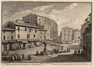 Пьяцца Монтанара. Фонтан (1), Театр Марцелла, превращенный во дворец семьи Савелли, а сейчас - Дом Орсини (2).