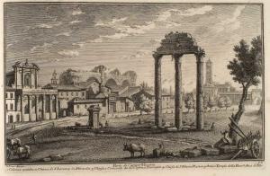 Часть Кампо Ваччино. Античные колонны (1), Церковь Сан Лоренцо ин Миранда (2), Церковь и монастырь святых Косьмы и Дамиана (3), Церковь Санта Мария Нуова (4), Античный Храм Мира (5), Арка Тита (6)