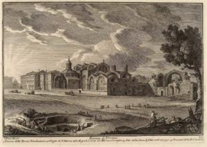 Пьяцца ди Термини. Руины Терм Диоклетиана (1), Церковь Санта Мария дельи Анджели (2), Место раскопок (3), Зернохранилища (4)