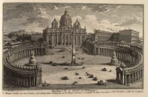 Базилика Сан Пьетро ин Ватикано. Площадь, украшенная 320 колоннами и 136 статуями из травертина (1), Дворец Понтифика (2), Дворец Аудиенций (3)
