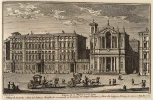 Церковь Санта Мария ин Виа Лата. Палаццо де Декаролис (1), Часть Палаццо Памфили, выходящая на площадь Коллегио Романо (2), Часть того же Палаццо на улице Виа дель Корсо (3).