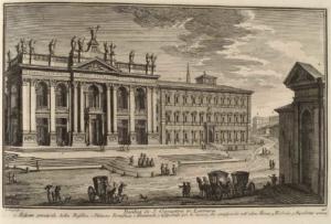 Базилика Сан Джованни ин Латерано. Главная высота базилики (1), Дворец Понтифика (2), Женский госпиталь (3), Триклиний (4), античный акведук (5)