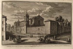 Церковь Сан Клементе. Амфитеатр Флавиев или Колизей (1), гостиница для выздоравливающих (2), Церковь Сан Клементе (3), часть Доминиканского монастыря (4)