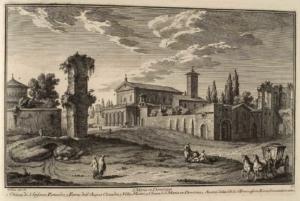 Церковь Санта Мария ин Доминика. Церковь Сан Стефано Ротондо (1), Опора акведука Аква Клавдиа (2), Вилла Маттеи (3), Церковь Санта Мария ин Доминика (4)