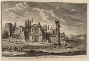 Церковь Санта Мария Либератриче. Античные колонны (1), Стены древней Курии Остилия и Базилики Порция (2), Церковь Сан Теодоро (3), Сады Фарнезе на Палатине (4)