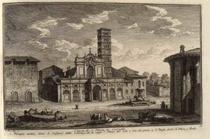 Церковь Санта Мария ин Космедин. Древний храм, называвшийся Сан Стефано делле Кароцце, в настоящее время - Санта Мария дель Соле (1), Дорога, ведущая к Сан Паоло Фуори ле Мура (2), Фенили (3)