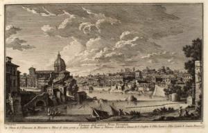 Останки античного моста Понте Трионфале. Церковь Сан Джованни де Фиорентини (1), Опоры означенного моста (2), Госпиталь Пацци (3), Дворец Сальвиати (4), Церковь Сан Онофрио (5), Вилла Ланти (6), Вилла Корсини (7), Дом Фарнезе (8)