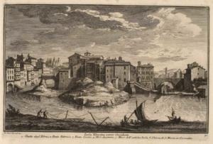 Тибрский остров со стороны Оччиденте. Еврейское гетто (1), Мост Фабричио (2), Мост Честио (3), мельница (4), античная стена острова (5), церковь Санта Мария ин Космедин (6)