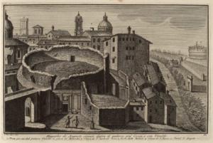 Мавзолей Августа, расположенный за Палаццо Вивальди. Мост, ведущий от дворца к Мавзолею (1), Церковь Сан Карло аль Корсо (2), Башня Милиции (3), Церковь Сан Рокко (4), Замок Святого Ангела (5)