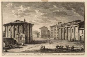 Древности у моста Понте Палатино. Античный храм, посвященный Святому Стефану, сегодня - Санта Мария дель Соле (1), Так называемый Дворец Пилата (2), Церковь и больница Санта Мария Эгециака (3)