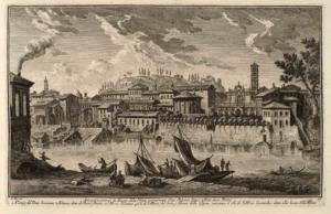 Набережная Бокка делла Верита, ранее называвшаяся Пулерум Литтус или Между Двух Мостов. Остатки Моста Сенаторов (1), Дворец Пилата (2), Руины на Палатине (3), Церковь Санта Мария дель Соле (4), Выход Клоаки Массима (5), Церковь Санта Мария ин Космедин или Бокка делла Верита (6)