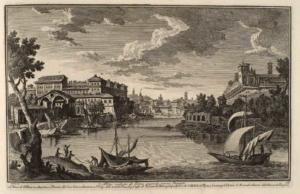 Вид на набережную Рипа Гранде с западной стороны. Церковь Санта Мария ин Авентино и Приорат Иерусалимских рыцарей (1), остатки античной пристани (2), купол церкви Святого Луки (3), госпиталь Сан Микеле (4), тюрьма (5), арсенал (6), зернохранилища (7), таможня (8)