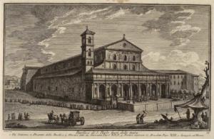 Базилика Сан Паоло фуори ле Мура. Виа Остиенце (1), проспект базилики (2), мозаики папы Иоанна XII (3), портик, обновленный папой Бенедиктом XIII (4), набережная Тибра (5)