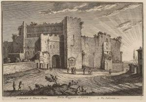 Ворота Порта Маджоре. Акведук Тиберия Клавдия (1). Улица виа Лабикана (2)