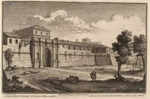 Ворота Порта Портезе. Хоспис Аптико ди Сан Мишеле (1), Догана ди Рипа Гранде (2), Монастырь Иерусалимских рыцарей (3), Погрузка мрамора (4)