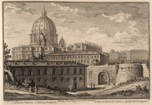 Ворота Порта Кавалледжьери. Ватиканская Базилика (1), Дворец Понтификов (2), часть Дворца Сант Официо (3), Кавалерийские Казармы (4)