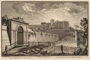 Ворота Порта Анджелика. Здание Бельведера на Ватиканском холме (1), Галерея, соединяющая Бельведер с Ватиканским Дворцом (2)