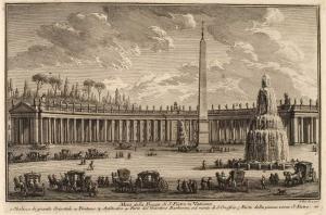Половина Площади Святого Петра в Ватикане. Гранитный обелиск (1), Фонтан (2), Амфитеатр (3), Часть садов Барберини на холме Сан Онофрио (4), часть площади у базилики Святого Петра (5)